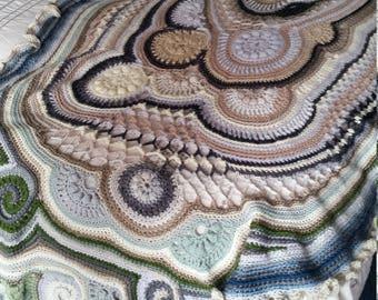 Freeform crochet shawl/throw rug