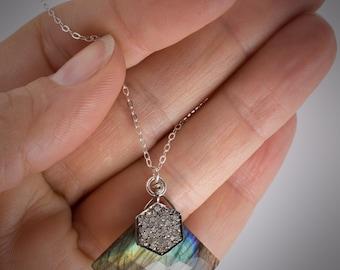 Diamond Pave Charm Necklace, Labradorite and Diamond Pave Necklace, Charm Necklace, Silver Chain Pendant Necklace