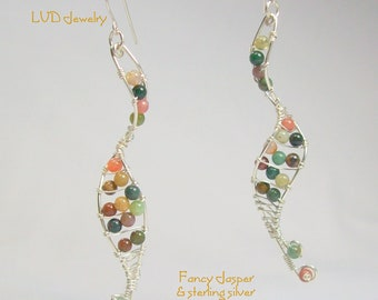 Silver Spiral Ladder Gemstone Earrings