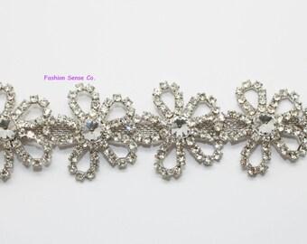 5 petals bridal wedding costume diamante rhinestone crystal silver trim 1 yard