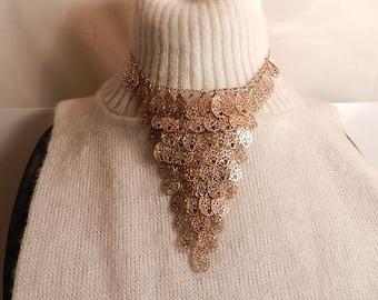 "16 "" vintage gold tone costume 4 1/2 ""bib choker necklace"
