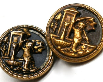 "1800s Antique BUTTONs, Victorian Mythology, Cupid at the fountain, 5/8"". Set of 2."