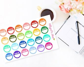 Round Work Stickers - Erin Condren Life Planner