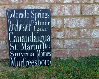 Personalized City Sign. Hand painted wooden custom sign. Keepsake.