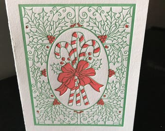 Letterpress A2 Candy Canes Christmas Card