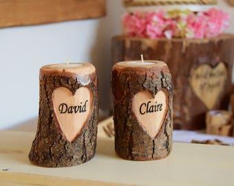 Personalised T-Light Holder, Wedding Candle Log, Candle T-light Holder, Wedding Tealight, Heart Tealight, candle