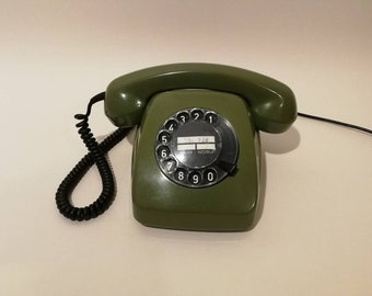Vintage Green Rotary Phone Green Telephone Black Dial Vintage Phone