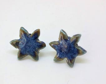 Star porcelain stud earrings