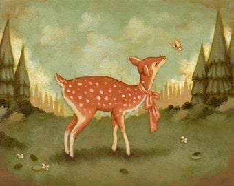 Art for Kids - Baby Deer Print 7x5 / 8x6 - Wall Art for Nursery, Baby Art, Nursery Art, Fawn, Butterfly, Forest, Animal, Cute, Woodland