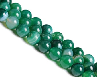 Handmade Jewelry Beads, Beads for Jewelry Making, Natural Green Stripe Agate Beads, 4 6 8 10 12 14mm Stone Beads for DIY Jewelry (B182)
