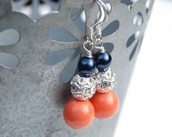 Navy and Coral Pearl Rhinestone Earrings, Bridesmaid Earrings, Navy Coral Wedding, Coral Navy Bridesmaid