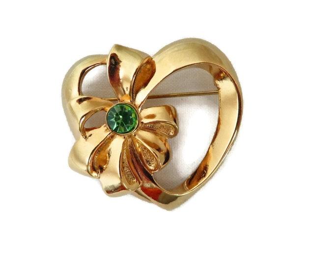 AVON Bow Brooch, Vintage Heart Pin, Goldtone Green Rhinestone Pin, Classic Avon Jewelry Gift Idea