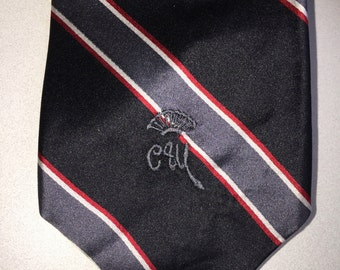Vintage COUNTESS MARA Monogram Black Gray Red White Diagonal Stripe Classic 100% Silk Necktie Tie