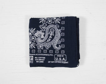 Vintage Indigo Bandana Paris Blue Colorfast Paisley Print Handkerchief Made in USA