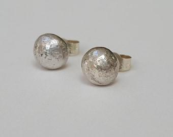 Big Silver Pebble Studs  -  Sterling Silver Nugget Studs  -  Simple Silver Earrings  -  Minimalist Silver Studs  -  Handmade In UK