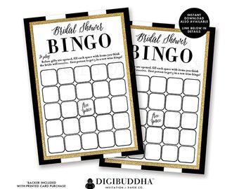 BRIDAL SHOWER BINGO Cards Printed Wedding Shower Bingo Cards Bridal Shower Bingo Game Wedding Shower Activity Shower Game Printed - Julia