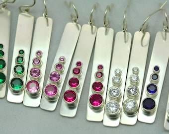 4 Stone Sequence Earring with Birthstone (Made to Order)