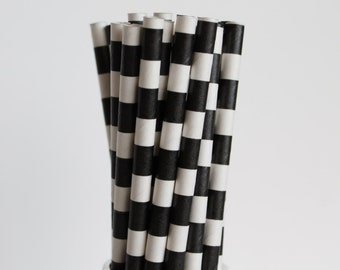 Black and White Striped Paper Straws-Rugby Horizontal Striped Straws-Mason Jar Straws-Black and White Birthday Party Straws-Wedding Straws