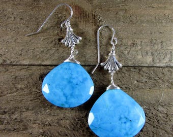 Blue Turquoise & Sterling Fleur de lis Earrings, Turquoise Long Earring
