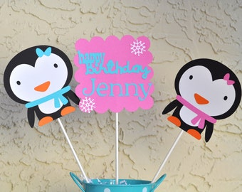 Winter Onderland Penguin themed birthday Centerpieces set of 3, pink and aqua penguin party, girls winter themed party centerpieces