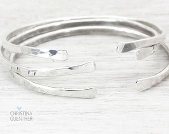Sparkle Silver Bangle, Stacking Bangles, Adjustable Silver Bracelet, Personalized Hand Stamped Bracelet, Bridesmaid Gift, Christina Guenther
