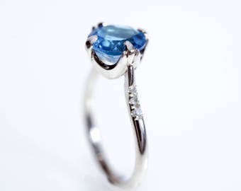 Silver engagement ring, Blue topaz engagement ring, Alternative Engagement Ring, Gemstone engagement ring, Amazing blue topaz ring for her