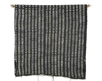 Black african mudcloth fabric throw with arrow print, mudcloth, mudcloth throw, mudcloth fabric, african mudcloth