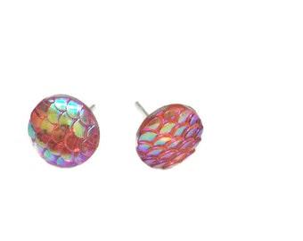 Mermaid scale stud earrings dragon scale earrings in peachy keen