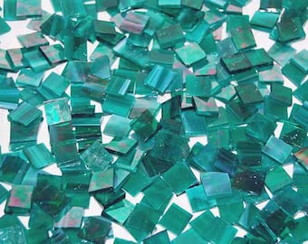 100 1/2 Inch Teal Green Iridescent  Stained Glass Mosaic Tiles