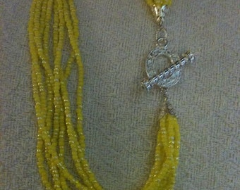 Yellow Multi Strand Necklace