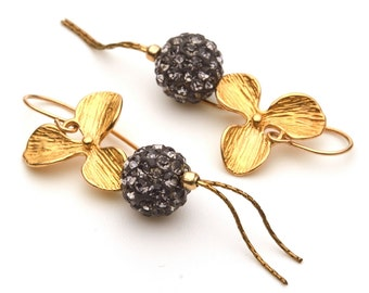 Jewelry Earrings Dangle earrings Gold filled earrings  Vermeil earrings Black-grey earrings Twinkling earrings