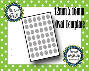 12x16 MM Oval Template- Editable Oval Template - Jewelry Making- DIY Template- Commerical Use