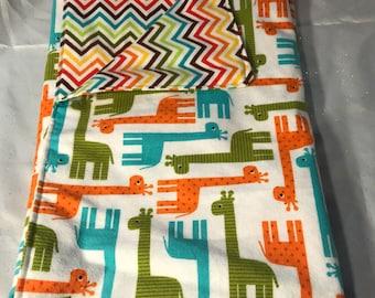 Flannel Blanket - Dog puppy Blanket orange blue green giraffes with chevron