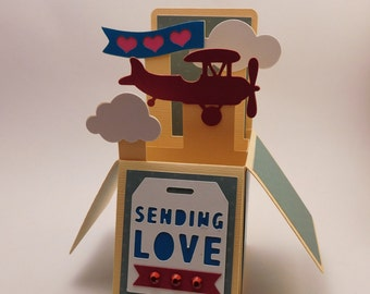 Sending love, airplane pop up box card
