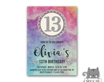 Girls 13th birthday invitations teen birthdays faux gold girls 13th birthday invitations watercolor faux silver glitter teenage girls teen invitations filmwisefo