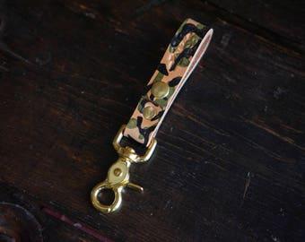 Hand Printed Camo Herman Oak Vegtan Leather Belt Loop Key Fob with Solid Brass Scissor Snap and Snap Closure