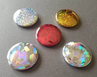 Personalized Holographic Button Set Of 5