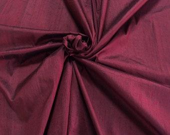 "Burgundy red 100% dupioni silk fabric yardage By the Yard 120cm 45"" wide raw silk Soie Sauvage Bordeux red wine color dupion silk"