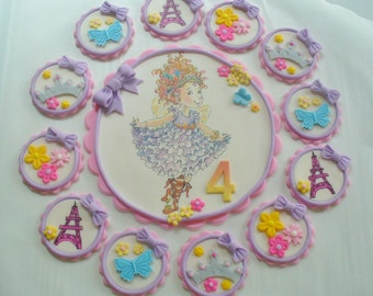 FANCY NANCY Cake Topper and Cupcake Topper Edible Fondant 13 Piece Set