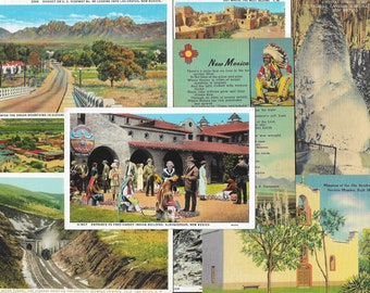 Vintage New Mexico Postcards, 15 Cards from the 1920s to 1940s, Albuquerque, Santa Fe, White Sands, Carlsbad  Caverns, Las Cruces, T or C