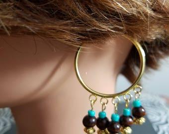 Tropical Beaded Hoop Earrings
