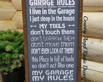 rustic DAD'S GARAGE RULES Handmade Wood Typography Sign, Garage Sign, Fathers Day gift, Dad gift, Tool sign, Handpainted Sign, Framed sign