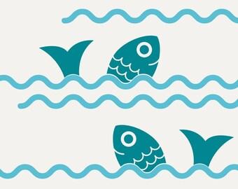 Fish Jumping Ocean Waves Wall Decals: Ocean Baby Nursery Decor Sea Life Nautical Under-the-Sea Aquarium Underwater Cute Room Border