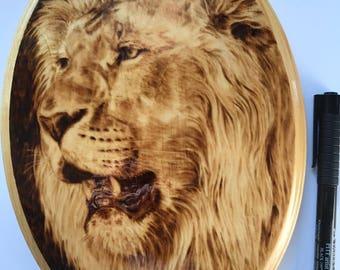 Hand-Made Lion Woodburn on Pine