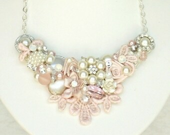 Bridal Statement Necklace- Blush Bridal Bib- Pearl Bridal Necklace- Blush Bridal Bib- Blush Statement Necklace- Wedding Statement Necklace