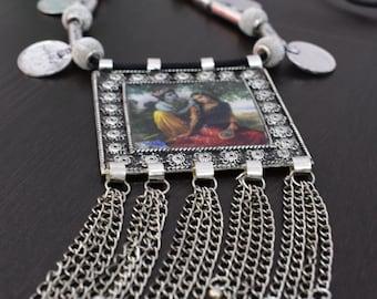 Saisha Jewels Trendy Oxidized German Silver Necklace WIth Radha Krishna Imprint In Pendant