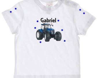 Baby Blue tractor personalized with name t-shirt