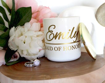 Custom Gold or Copper Wedding Bridesmaid Gift Set of Three Scented Soy Candles Style #2 | Bridesmaid Gifts | Wedding Decor | Rustic Wedding