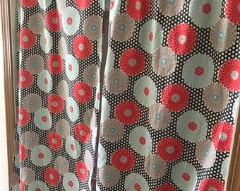 Gray and white polka dot with coral and aqua pom pom flowers curtain panels choose size