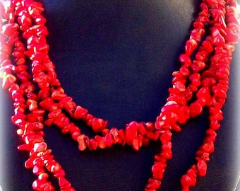 BOHO Coral necklace, long red coral necklace, beaded necklace, tribal necklace, native american, beach jewelry
